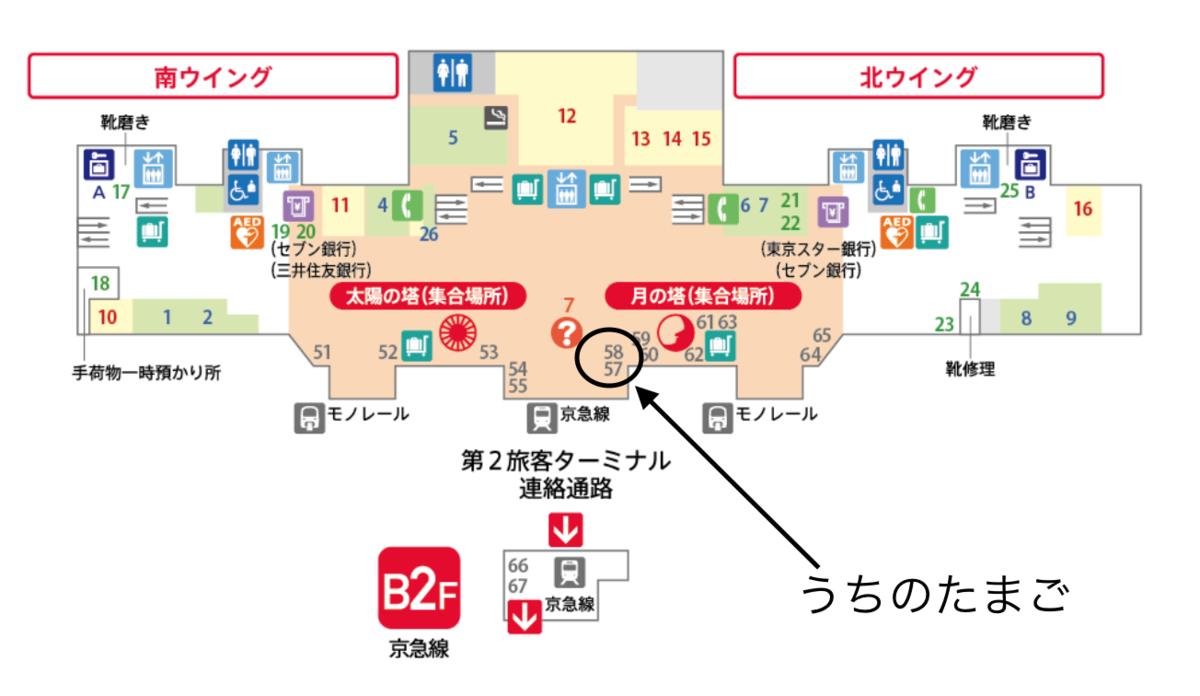羽田空港第1ターミナル うちのたまご 場所