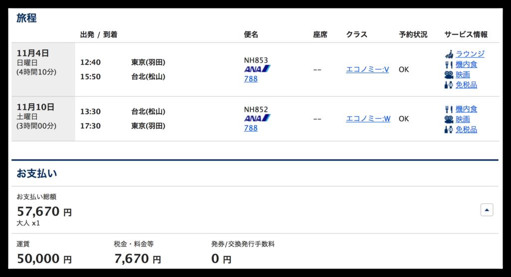 東京と台北を往復する航空券の価格