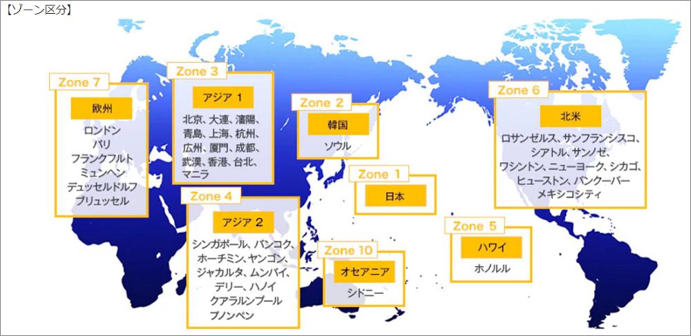 国際線特典航空券を手に入れるときのゾーン区分の考え方