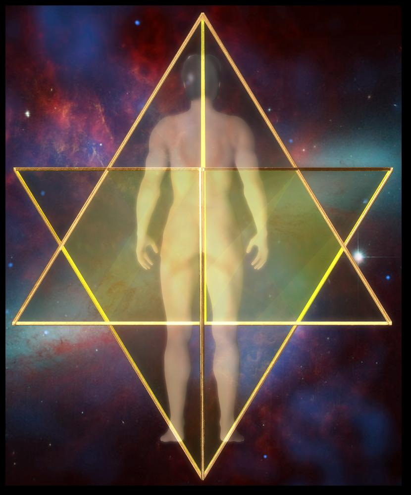 3次元 星形二重正四面体-背面図 merkaba star tetrahedron Back