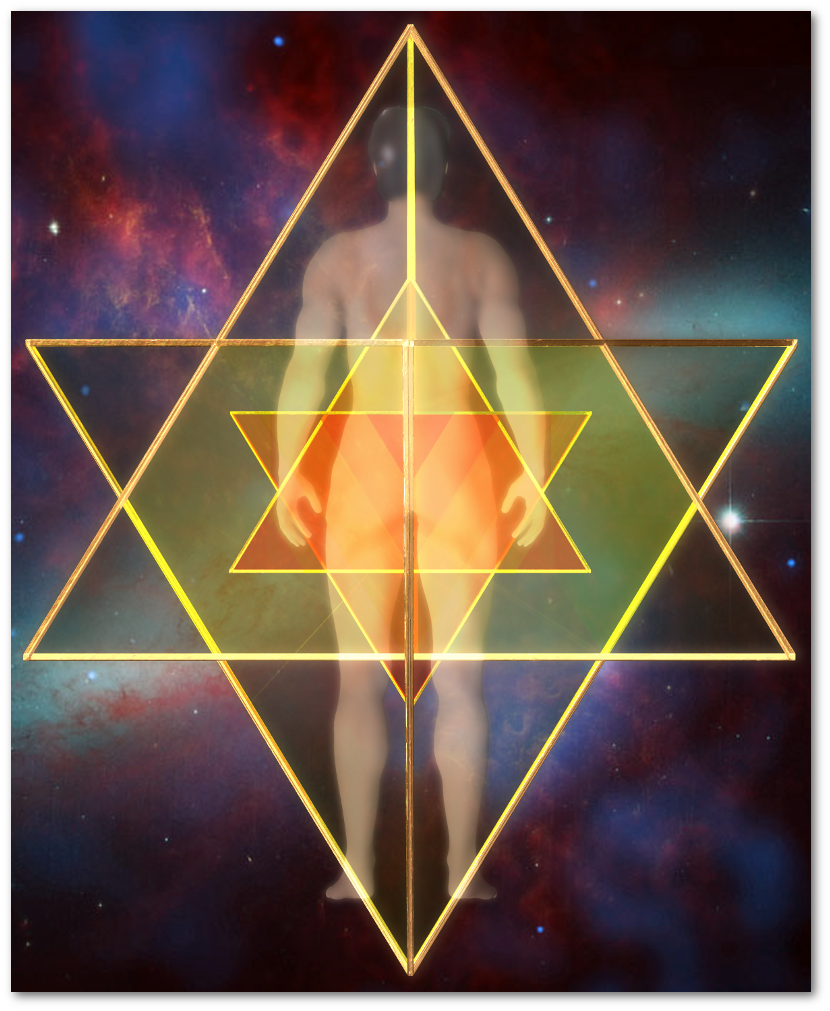 マカバ 5次元 二重星形二重正四面体-背面図 merkaba doublestar tetrahedron Back