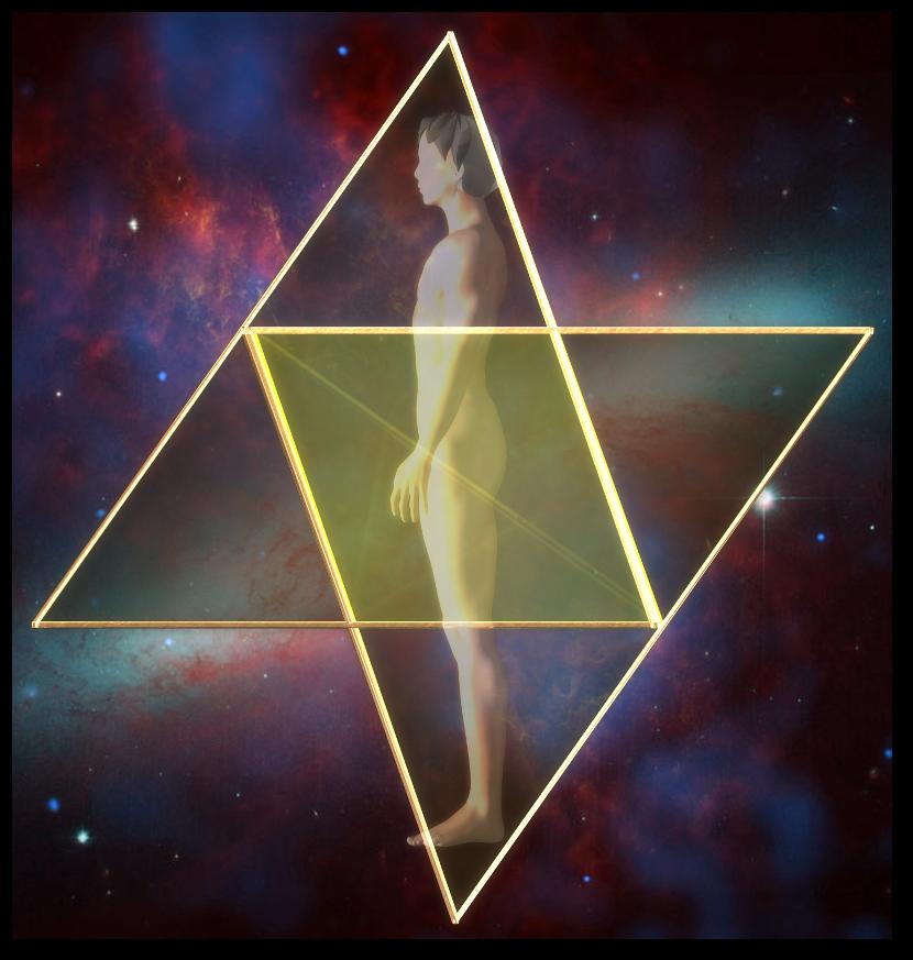 マカバ 3次元 星形二重正四面体-側面図 merkaba star tetrahedron side