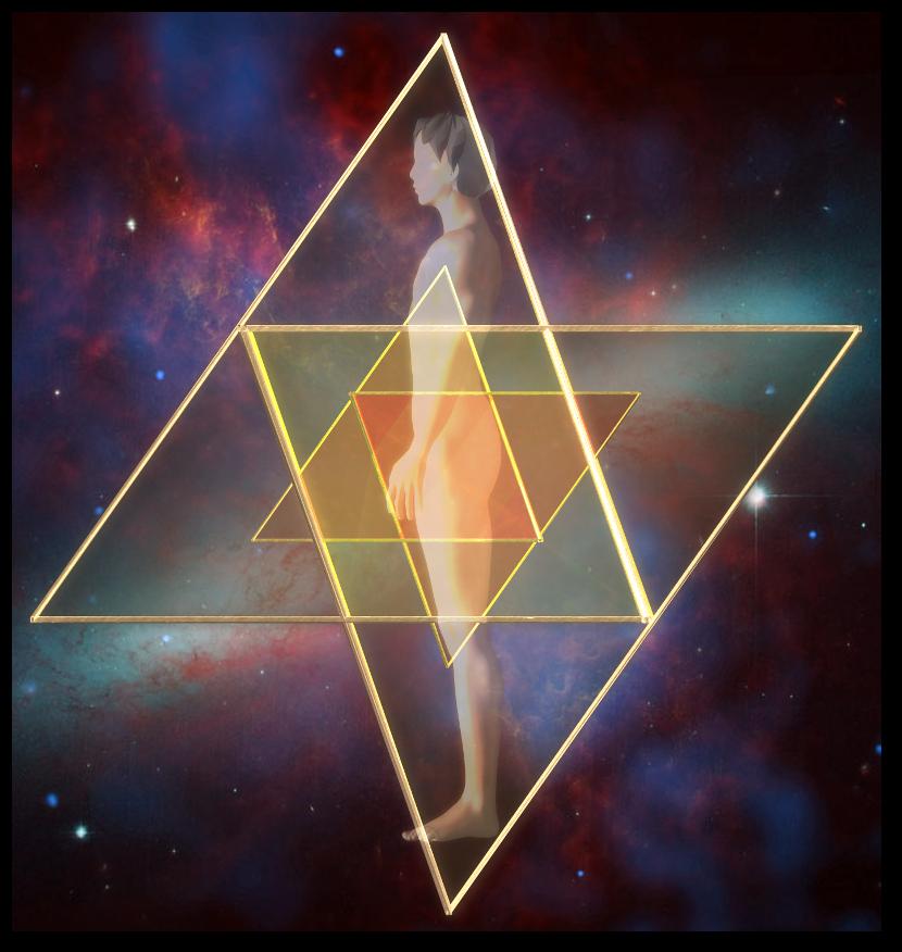 マカバ 5次元 二重星形二重正四面体-側面図 merkaba doublestar tetrahedron side