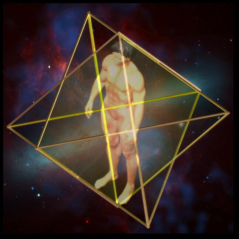 マカバ 3次元 星形二重正四面体-斜め図 merkaba star tetrahedron oblique
