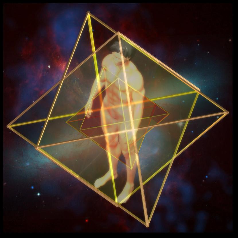マカバ 5次元 二重星形二重正四面体-斜め図 merkaba doublestar tetrahedron oblique