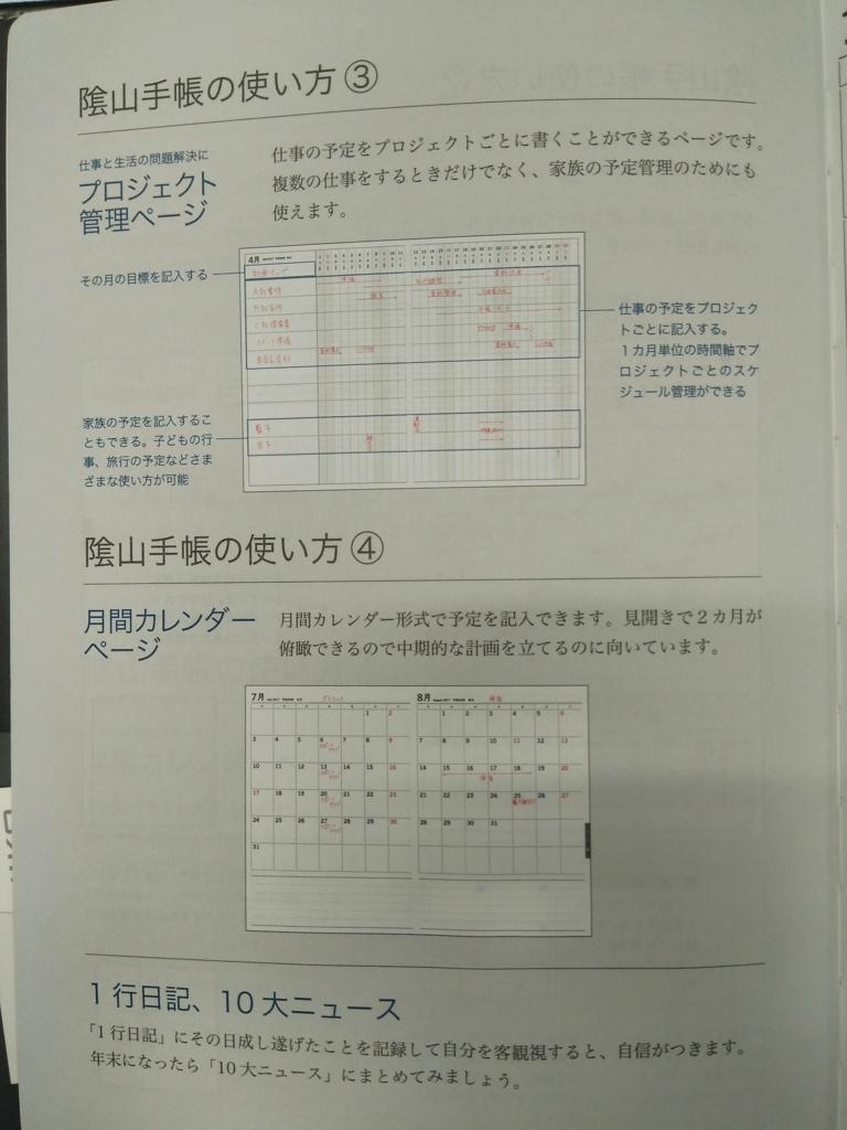 陰山手帳の中身、使い方について書かれている3ページ目