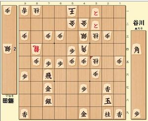 将棋第69期順位戦の谷川浩司九段vs郷田真隆九段の投了図