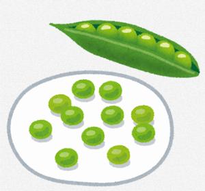 さやに入ったものと、お皿に盛られたグリーンピース