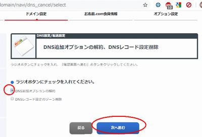 お名前.comのDNS追加オプションの解約画面