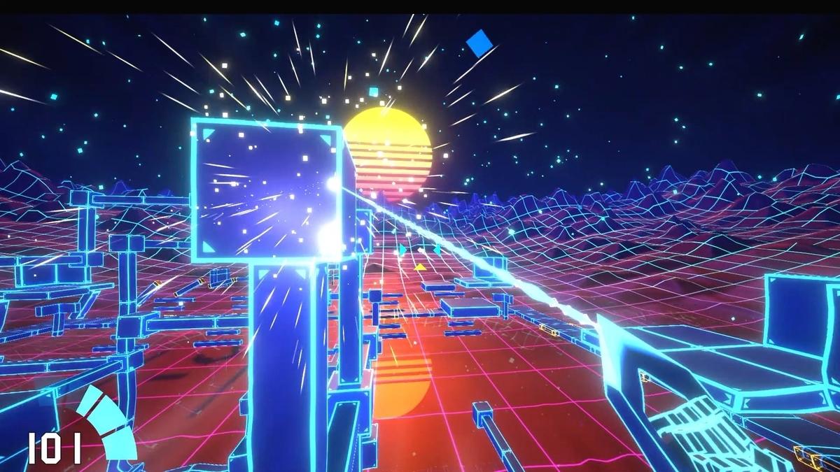 Steamの新作ゲームCyberHookの青ブロック