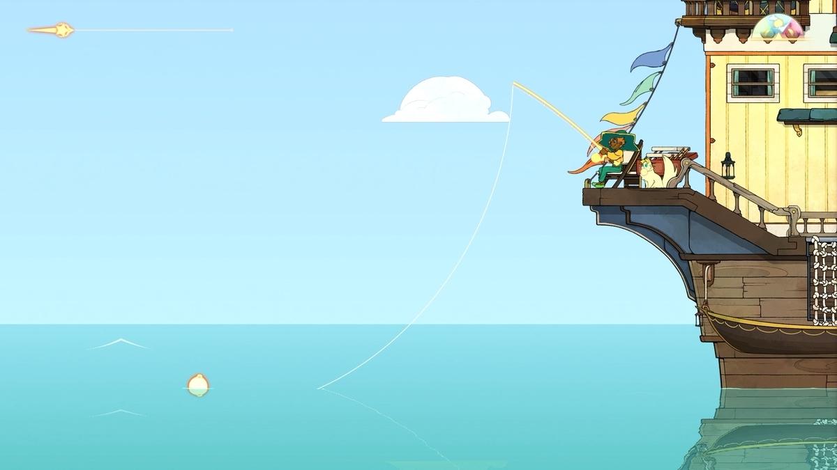 Spritfarer 船の後部で釣りする画像