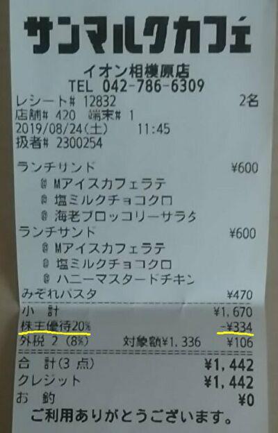 サンマルクカフェで株主優待券を使ってお会計をしたレシートの画像