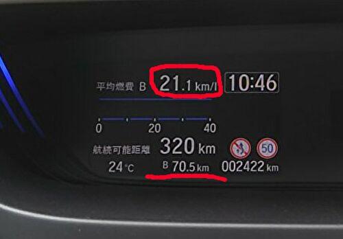 新型フリードの最高燃費を計測したメーターの画像