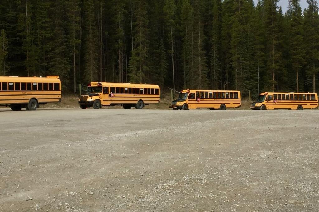 駐車場に並ぶ黄色いシャトルバス