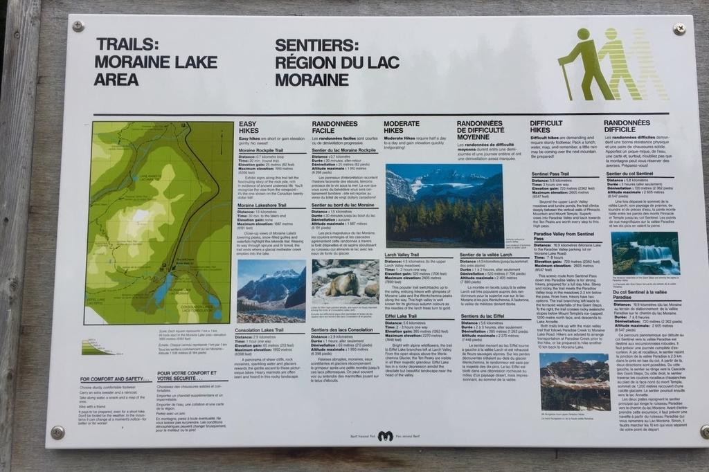 モレーンレイク周辺のハイキングコースの案内が書いてある看板。英語で解説が書いてある。