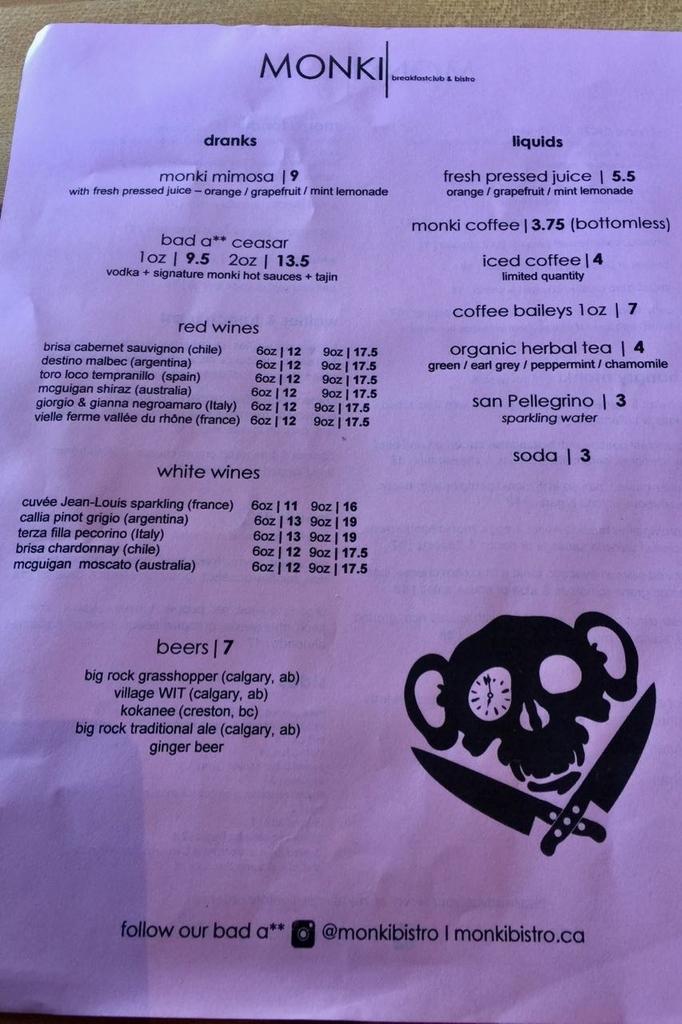 MONKIのドリンクの朝食メニュー表