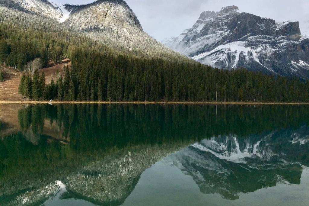 カナダのヨーホー国立公園のエメラルドレイク