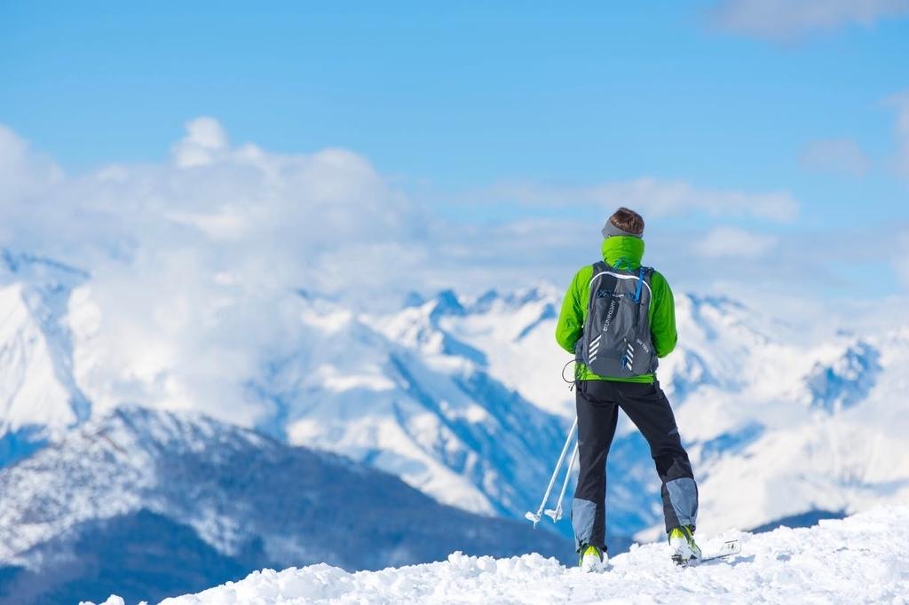 雪山に立つスキーヤー