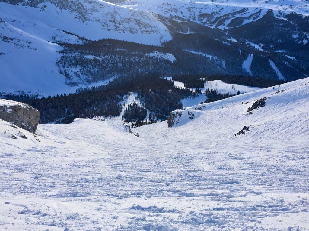 雪の積もった急な斜面にスキーやスノボの滑った跡が見える