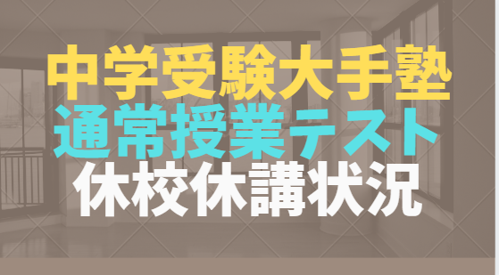 中学受験塾、各塾のコロナウイルス対応 授業・テスト 四谷大塚、サピックス、早稲アカ、日能研