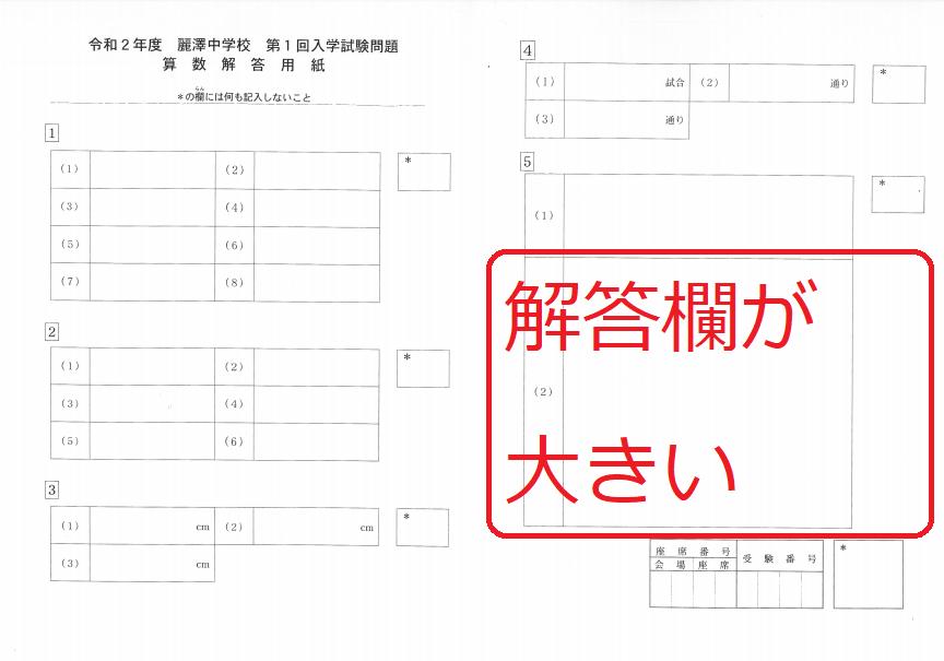 麗澤2020年算数 解答用紙