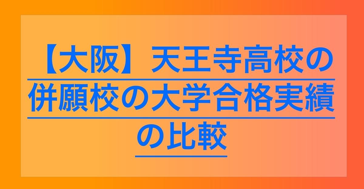 2020天王寺高校の併願校大学合格実績