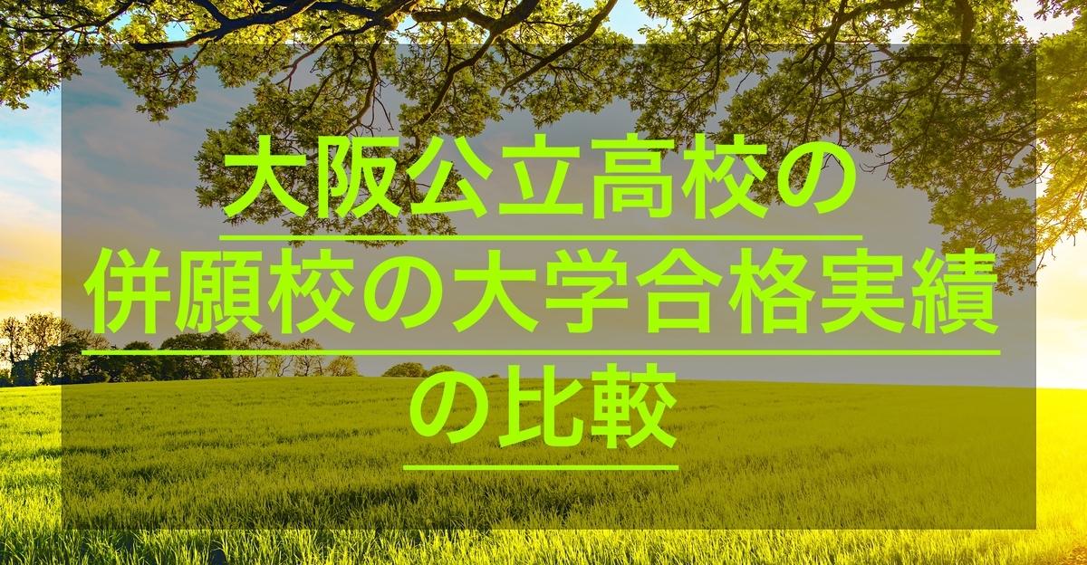 大阪公立高校の併願校の大学合格実績比較