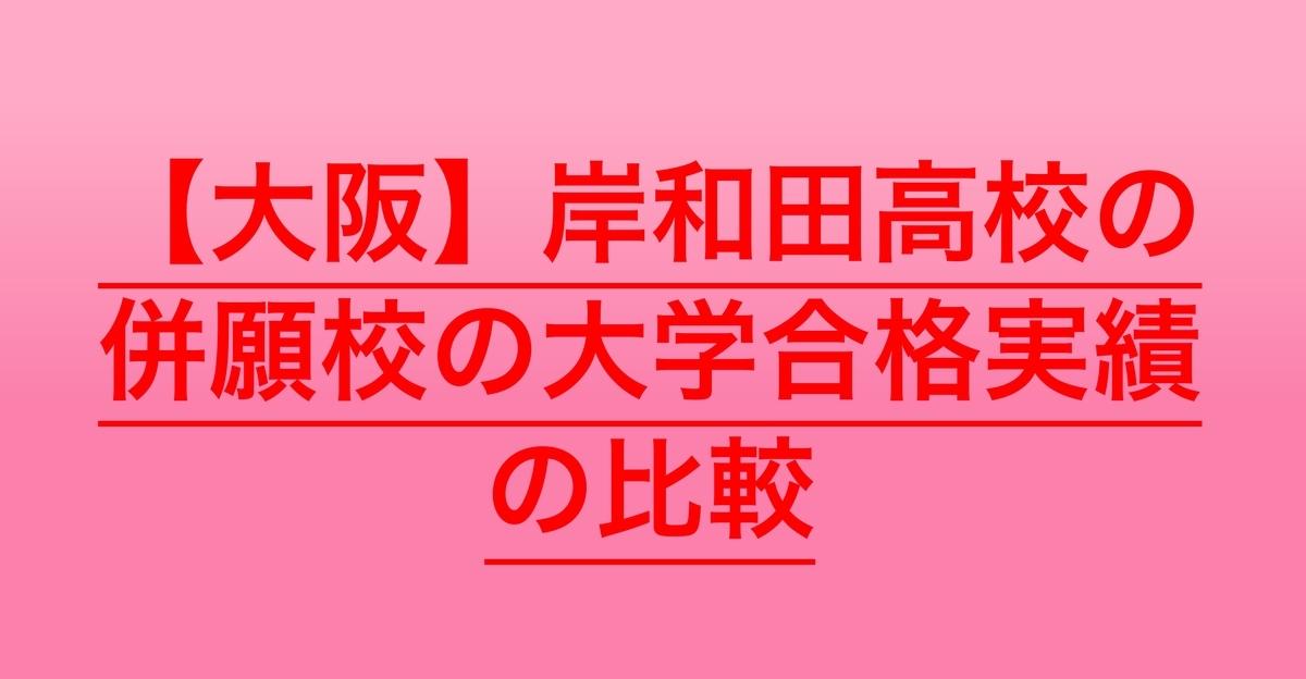 2020岸和田の併願校の大学合格実績の比較