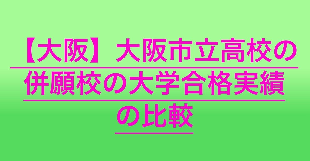 2020大阪市立高校の併願校の大学合格実績の比較