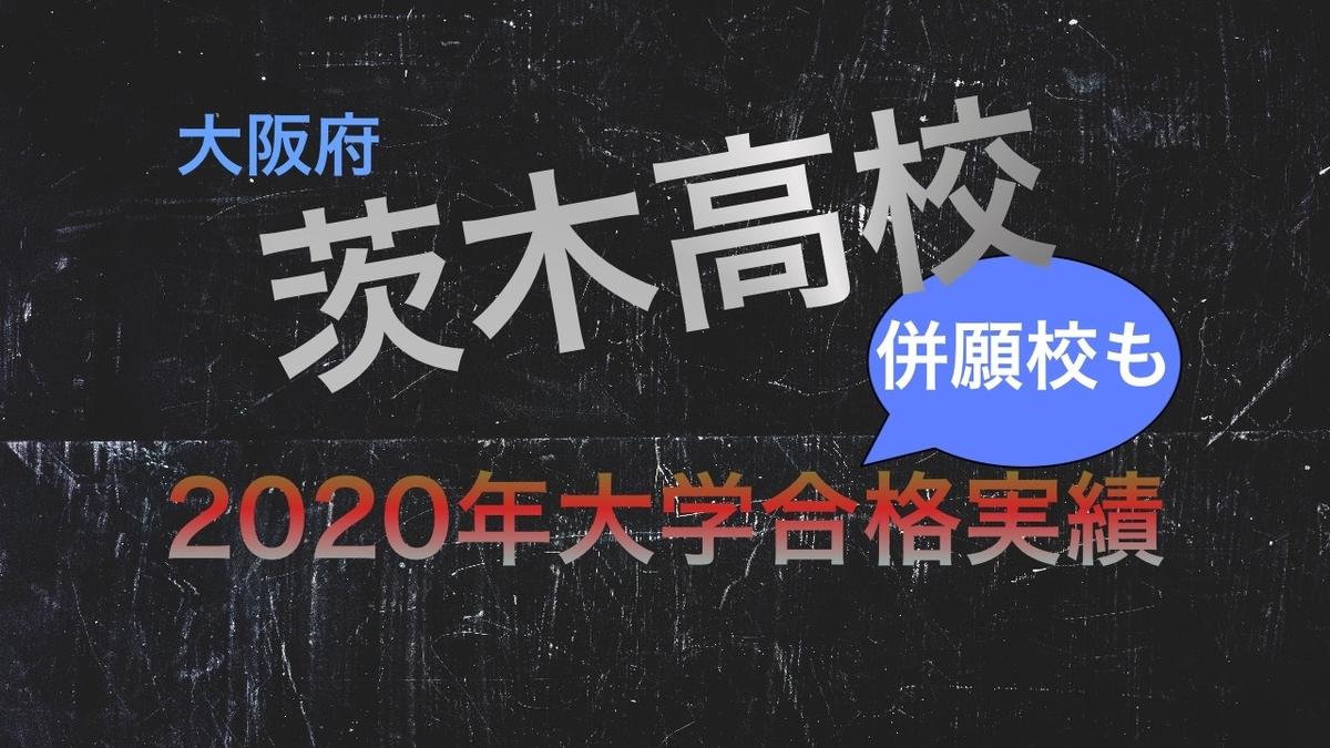 2020茨木高校と併願校の大学合格実績の比較