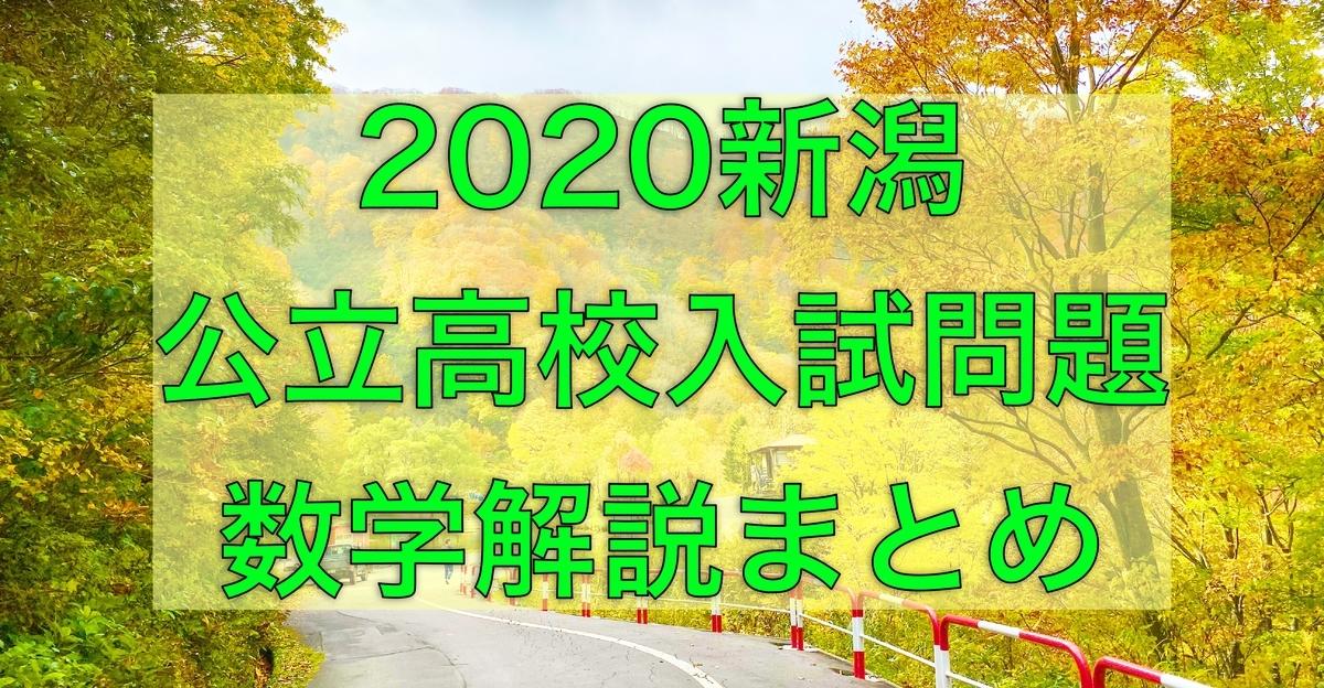 2020新潟公立数学解説まとめ