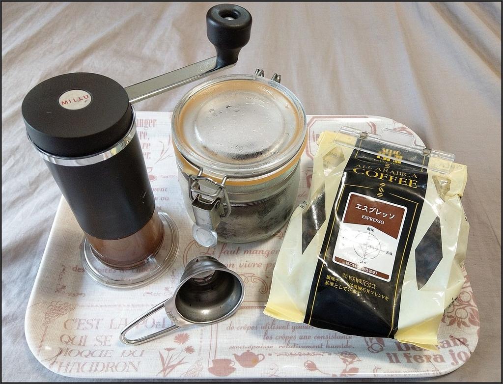 ミル、エスプレッソ用コーヒー豆、保存容器