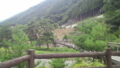 温泉前にあるつり橋