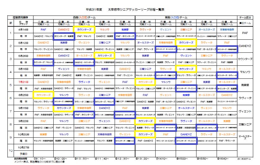 太宰府市シニアリーグ サッカー 日程表 平成31年