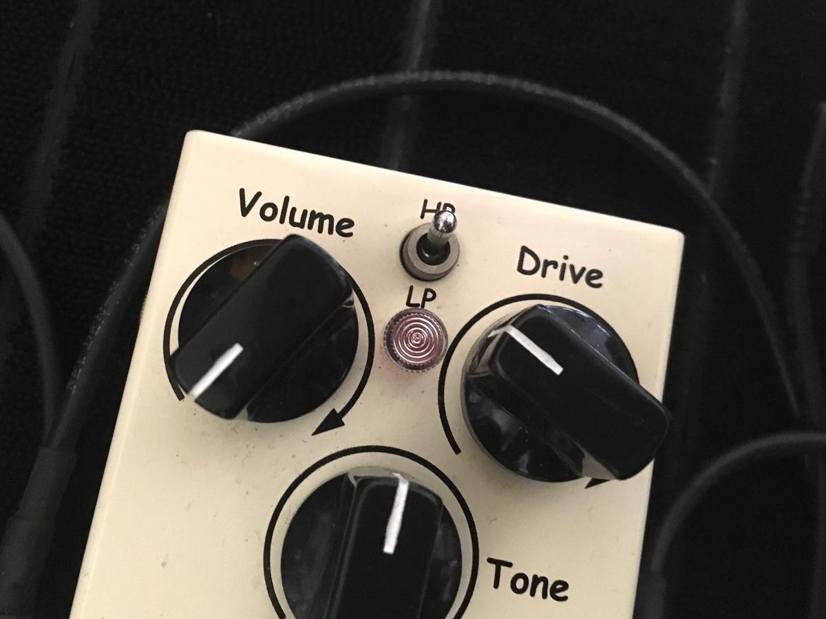 エフェクターの音量ツマミが0になっている画像です。