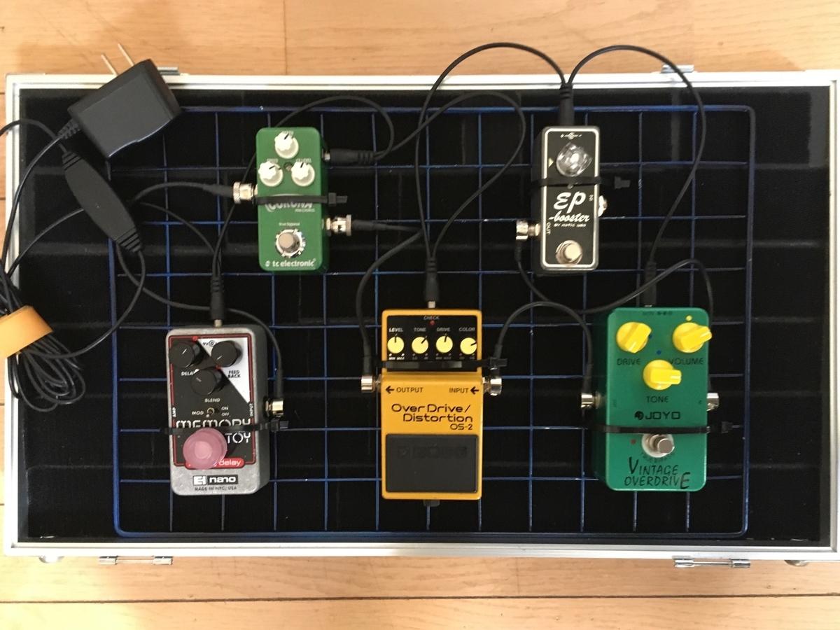エフェクターボードに自作したワイヤーネットを置いた画像です。