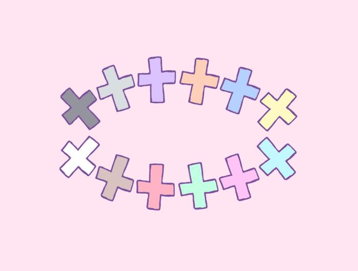 メルヘンテール十二仔の十字架ゆめかわいいファンシーパステルクロスイラスト
