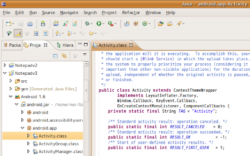 Eclipseからandroid SDKのソースを見た際の画像