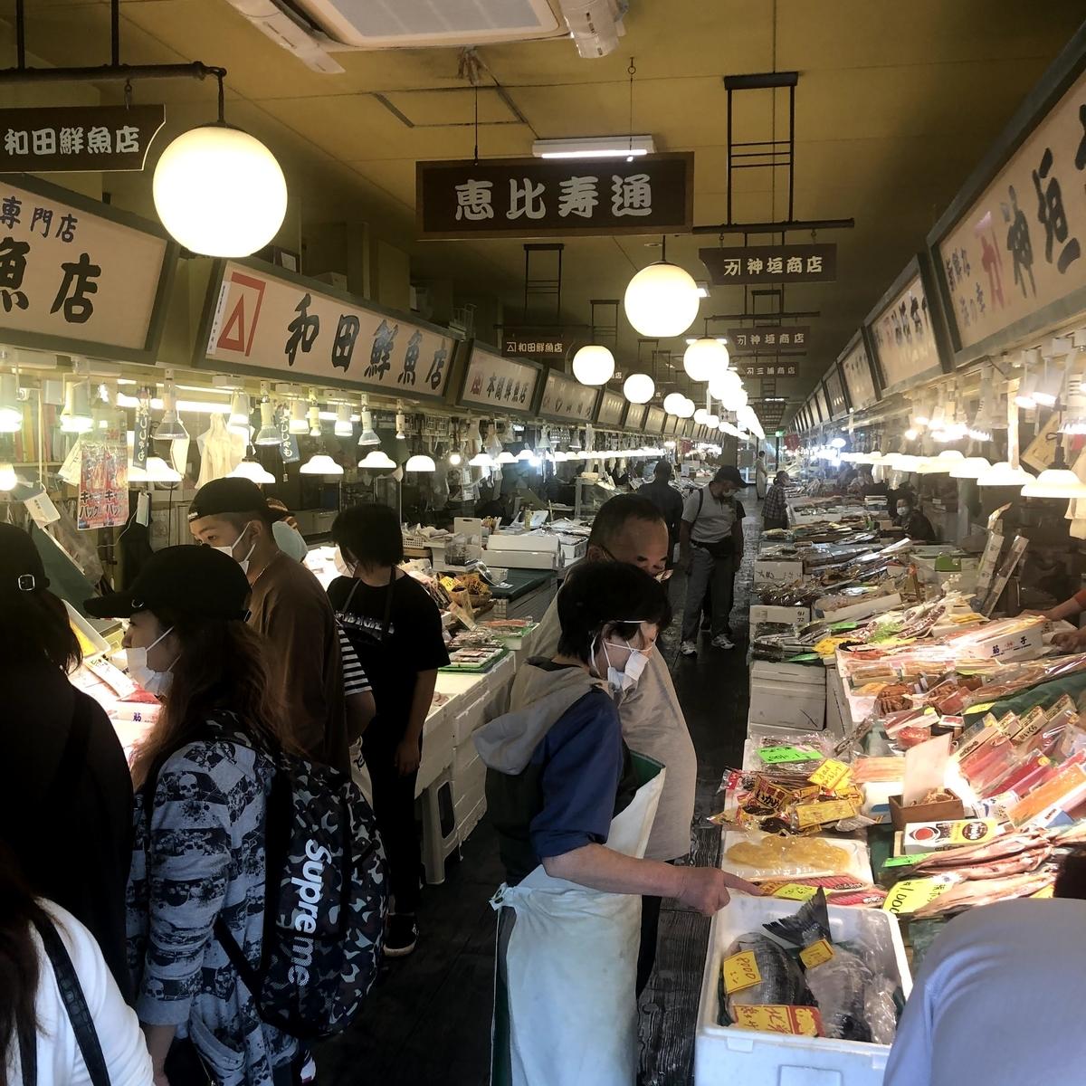 函館自由市場内部