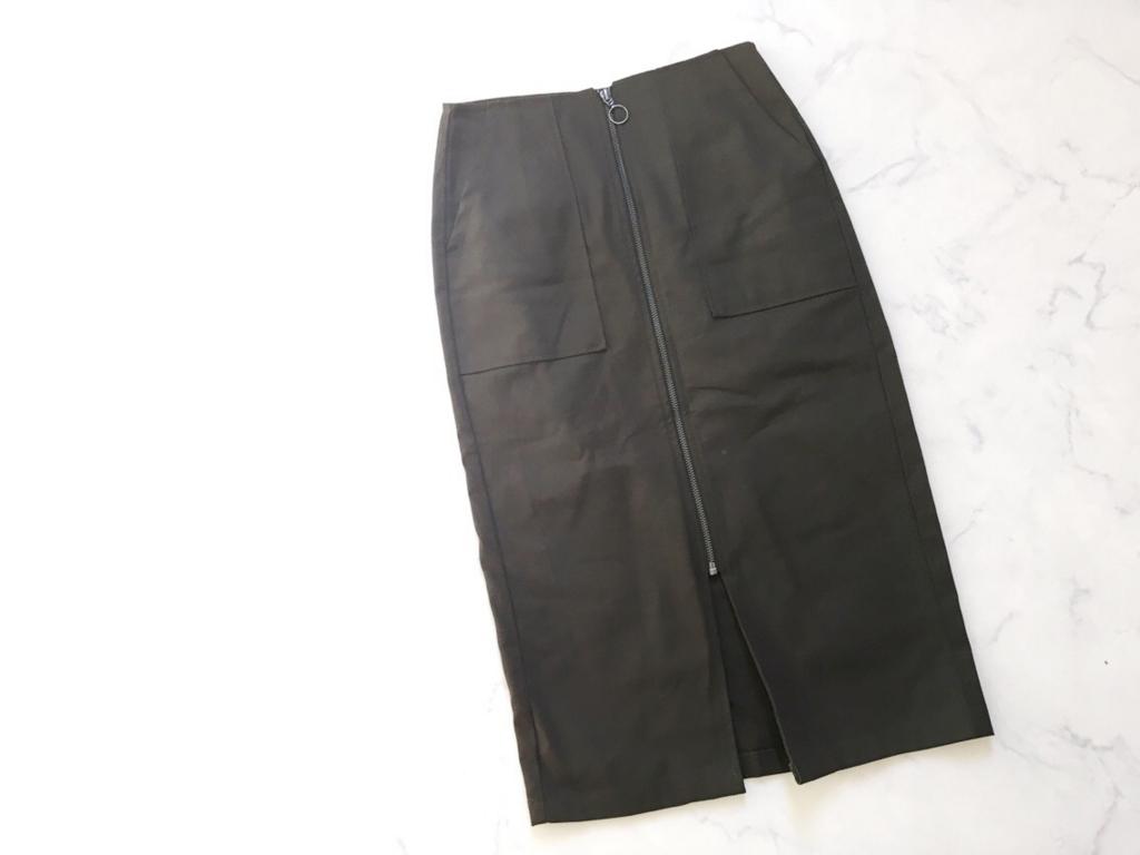 ヘリンボーンフロントジップタイトスカート (KHAKI)_イメージ