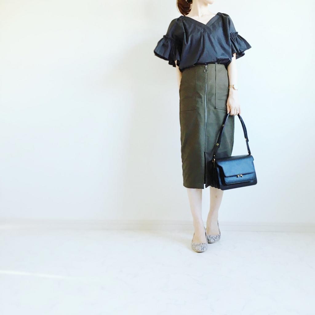 辛めのスカートコーデなら、ヘリンボーンフロントジップタイトスカート_イメージ