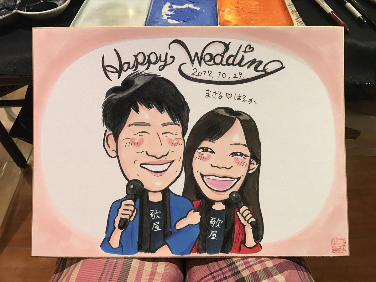 結婚祝いの似顔絵、寄せ書き用