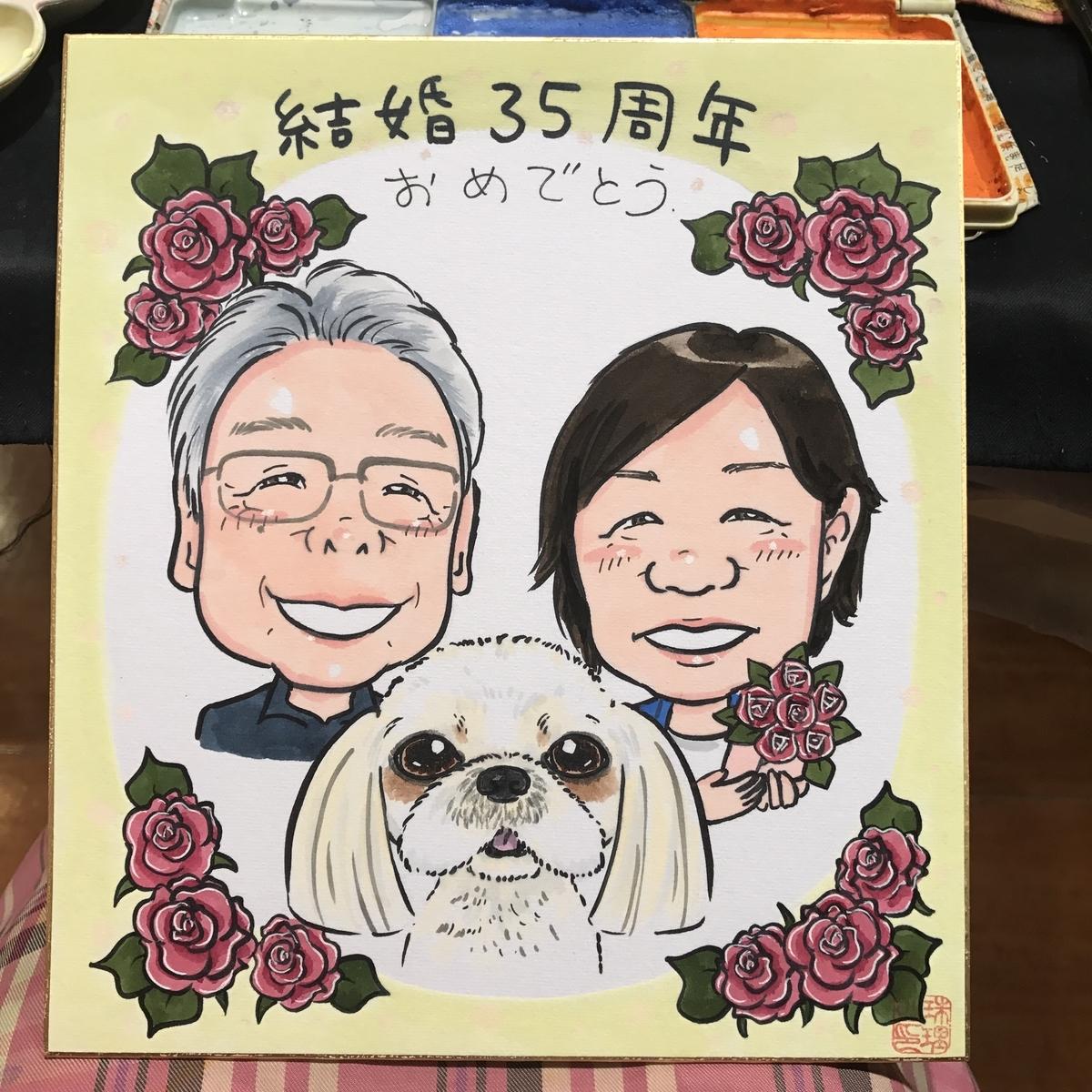 結婚35周年祝いの似顔絵