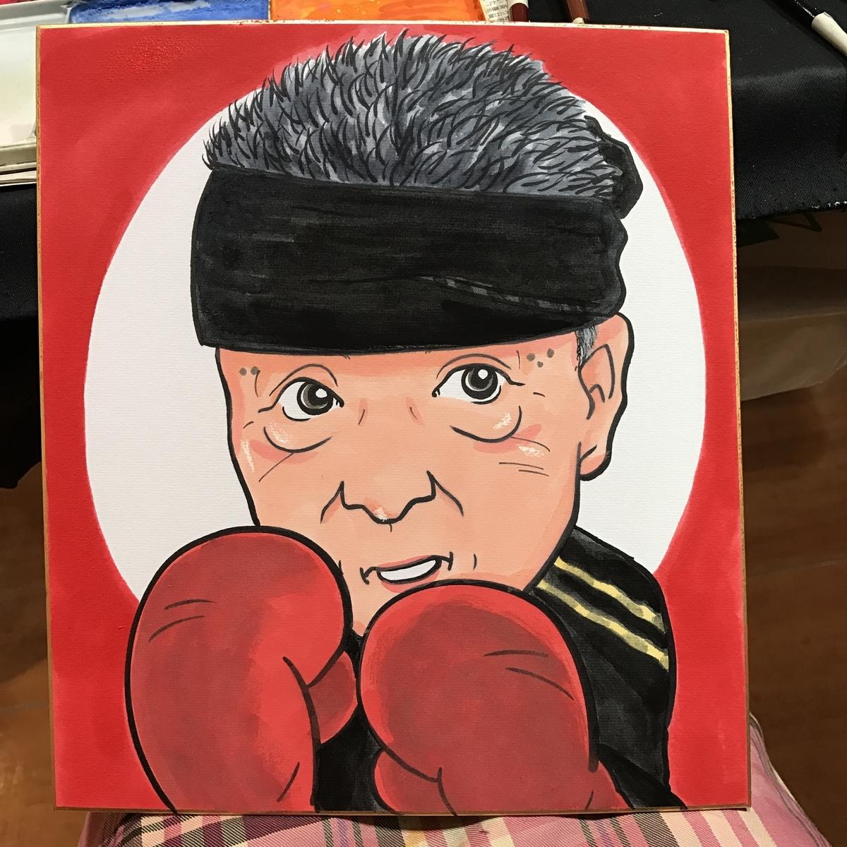 ボクシングの男性の似顔絵
