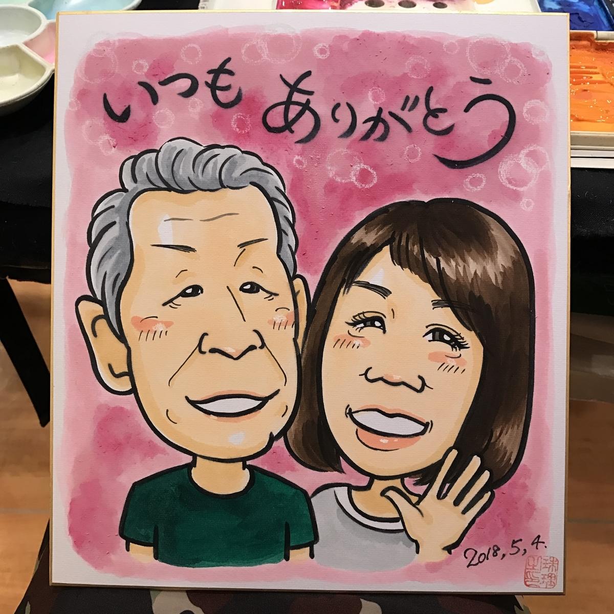ご両親への贈り物の似顔絵