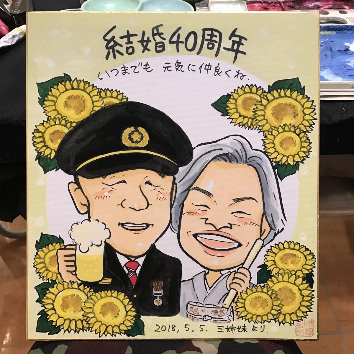 結婚40周年記念の似顔絵
