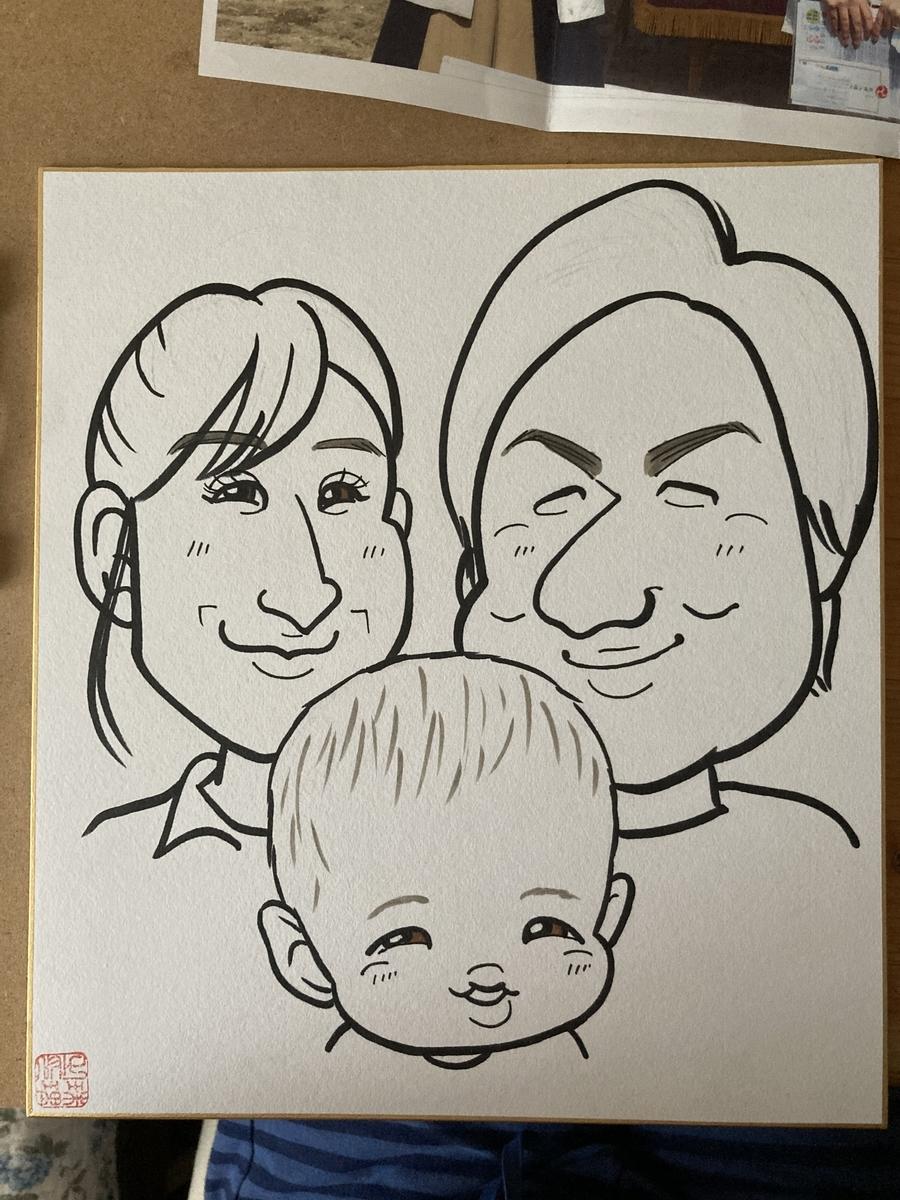 家族の似顔絵線画