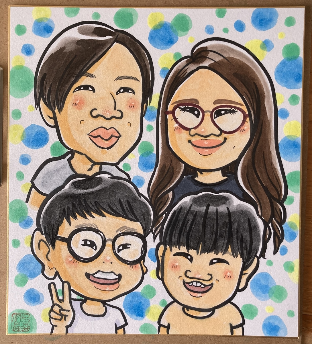 家族4人の似顔絵