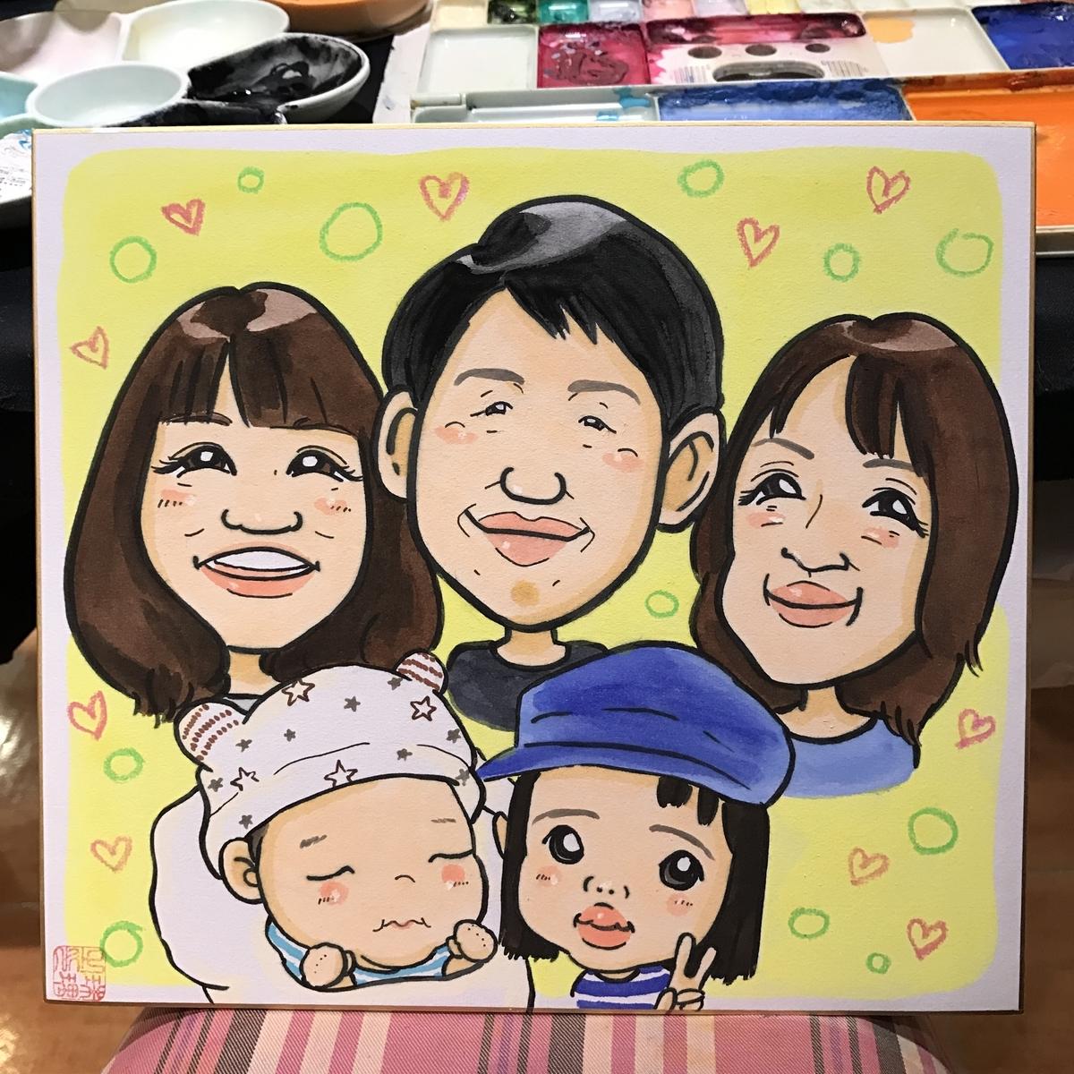 家族5人の似顔絵