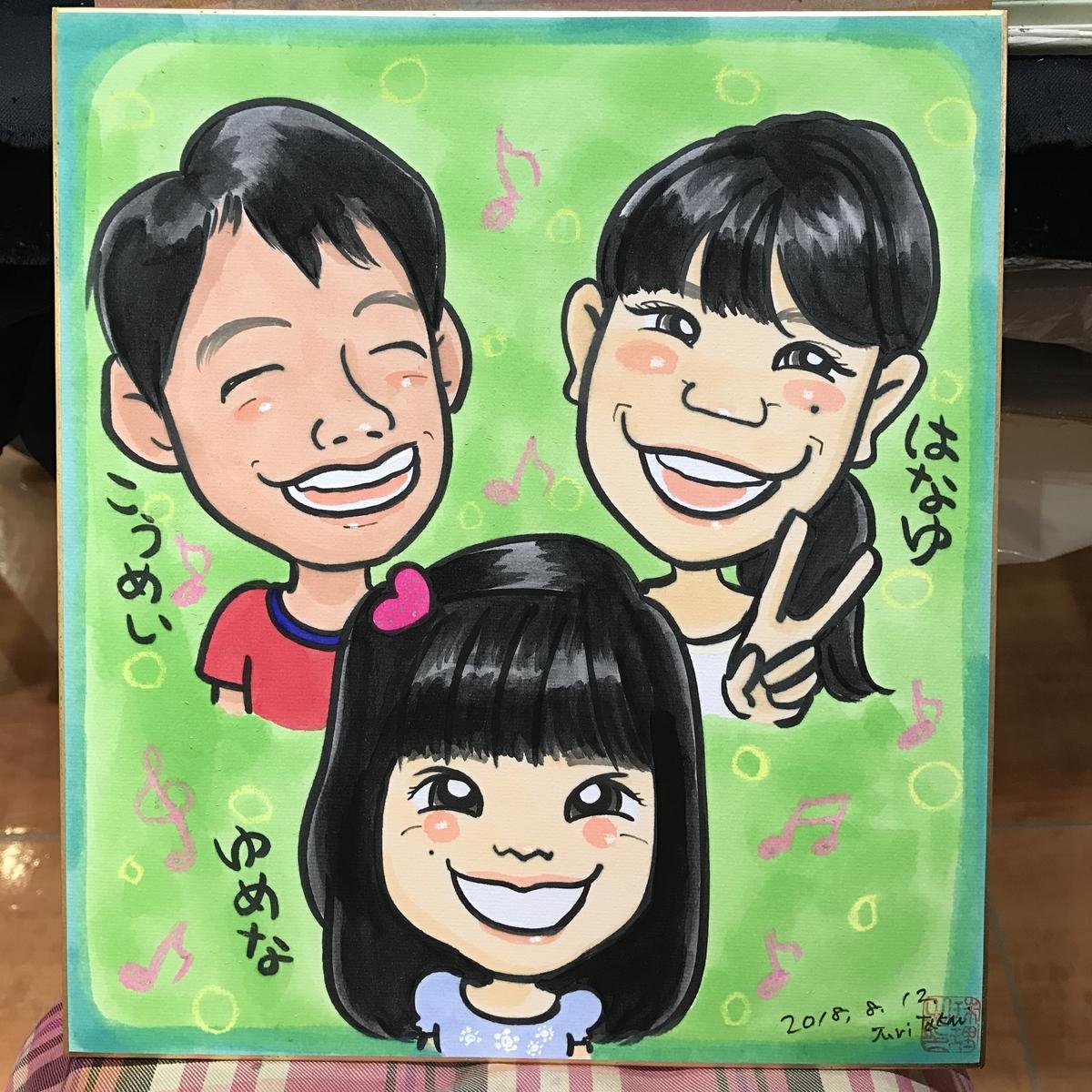 子ども3人の似顔絵